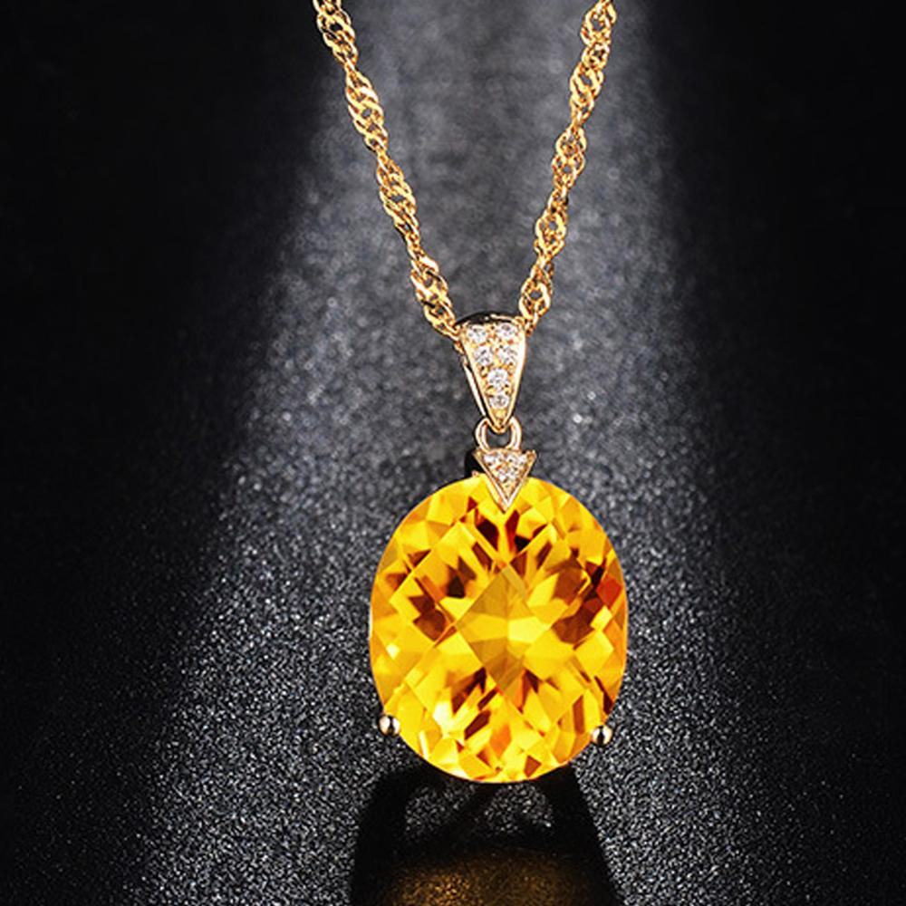Pendant Necklace Jewelry Citrine Gemstone Gold-Color Chain Crystal Natural Fashion Women