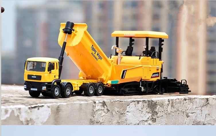 Model imitasi tinggi Dump Truk dan Pavers, 1:32 paduan rekayasa truk mainan kendaraan, coran logam, grosir