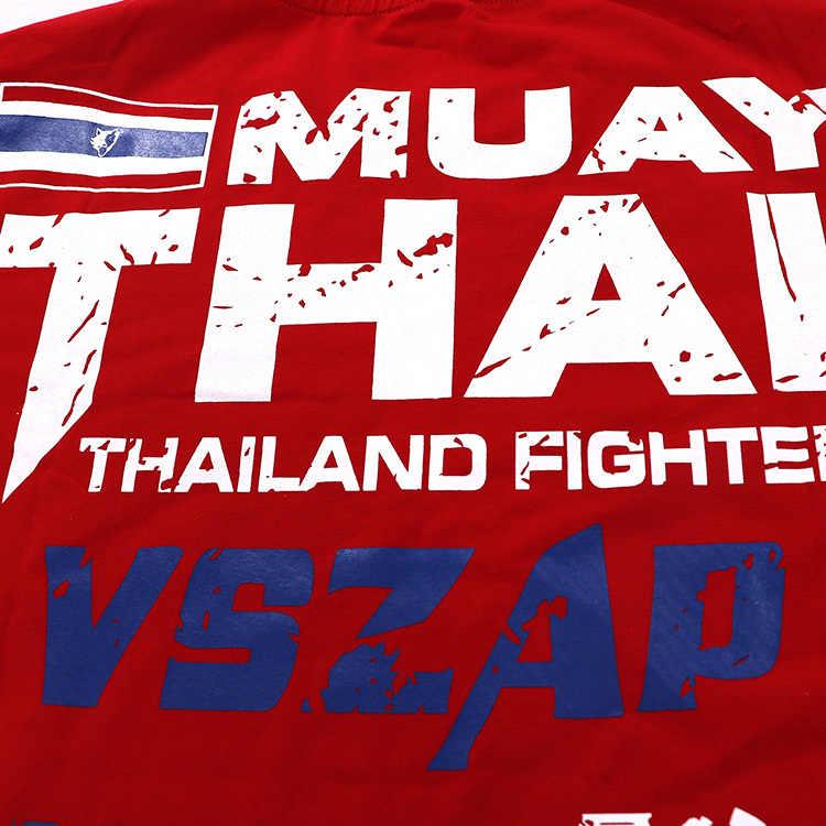 Vszap Bangkok Merah Muay Thai T Shirt Pria Hommeboxing MMA T Shirt Gym Kaos Pertempuran Pertempuran Seni Bela Diri Kebugaran pelatihan