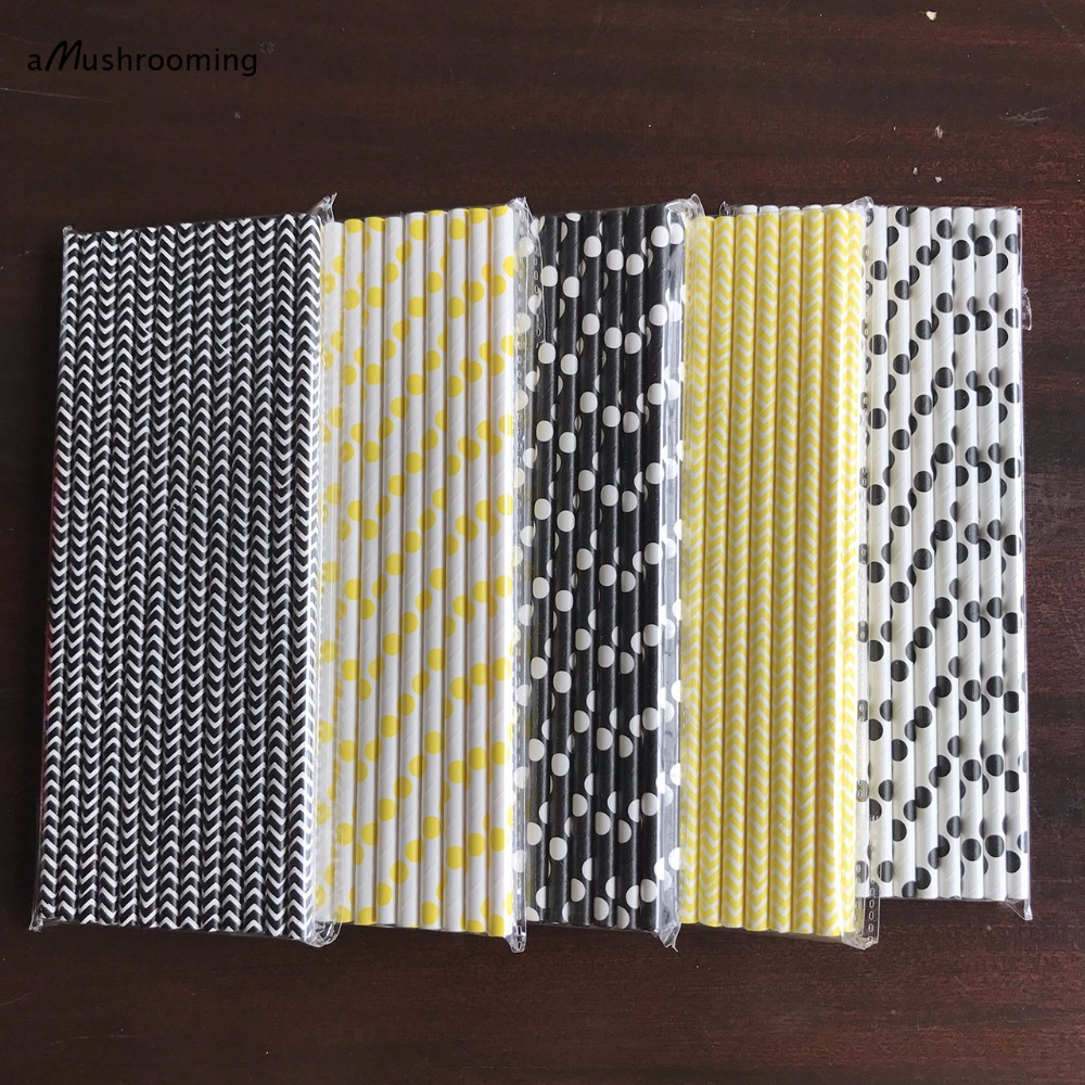 Bumble Bee Paper Straws Bumblebee Baby Shower Decor
