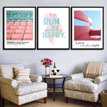 Nordic Poster Landscape Pink Ins Style Run and Be Happy Art Print Canvas Painting Picture Decorative For Living Room Home Decor