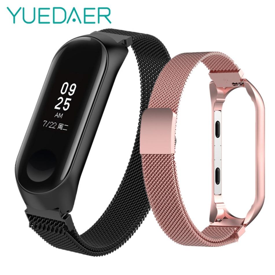 YUEDAER S/L Größe mi lanese strap für Xiao mi mi band 3 metall Magnetische schnalle smart armband armband für xio mi mi band 3