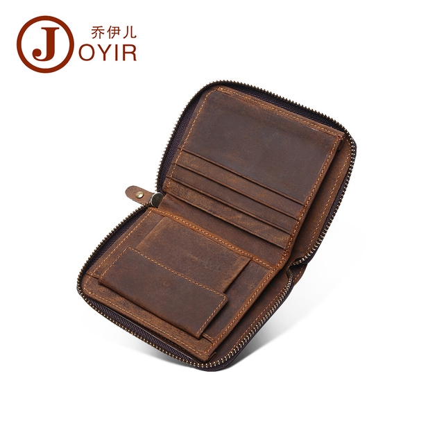 JOYIR Genuine Leather Men Short Zipper wallets purse fashion clutch wallet money holder leather handbag for male wholesale 2012