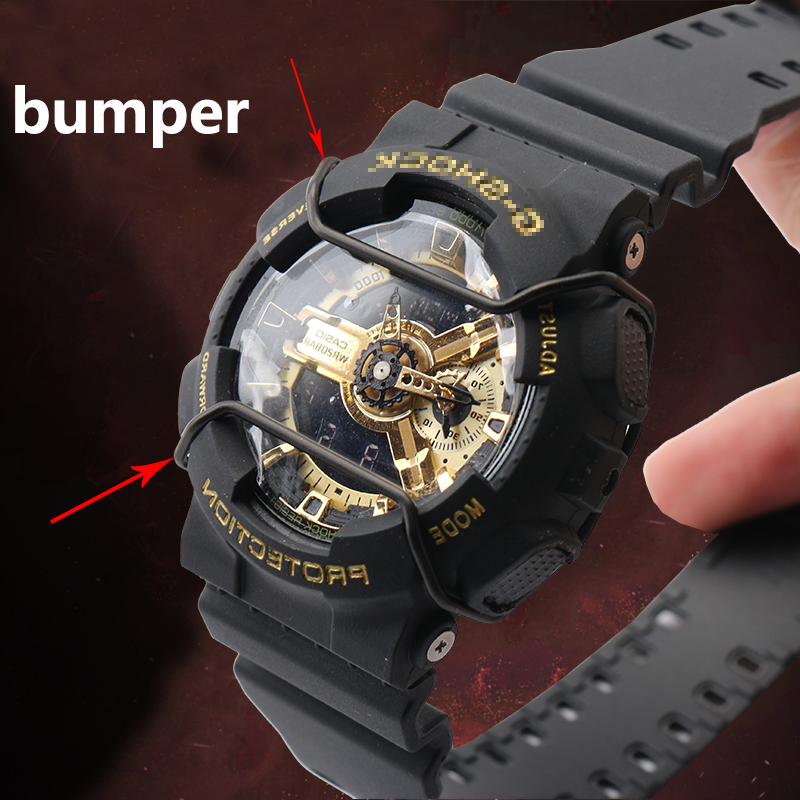 new concept fde6a 272b5 US $8.91 10% OFF|Bumper for Casio G SHOCK GA 110/GA 400/GD GAX 100/GG  1000/GWG 100 stainless steel watch accessories watchband loop-in Watchbands  from ...