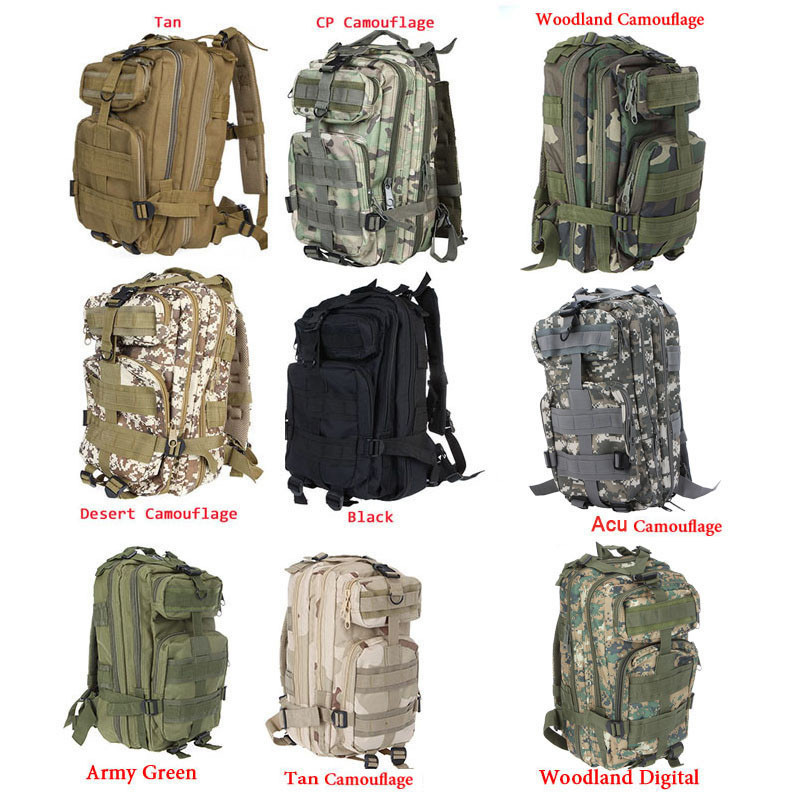 9 Colors Outdoor Sports 3P Bag Printing Tactical Military Backpack ...