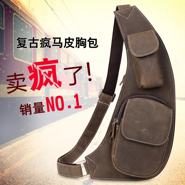 2016 TigerTown Brand New Top quality Fashion Genuine Cowhide leather Men Bust bags Shoulder Chest bag Messenger 2016 new brand design fashion black genuine leather bag chest pack men messenger bags shoulder bags