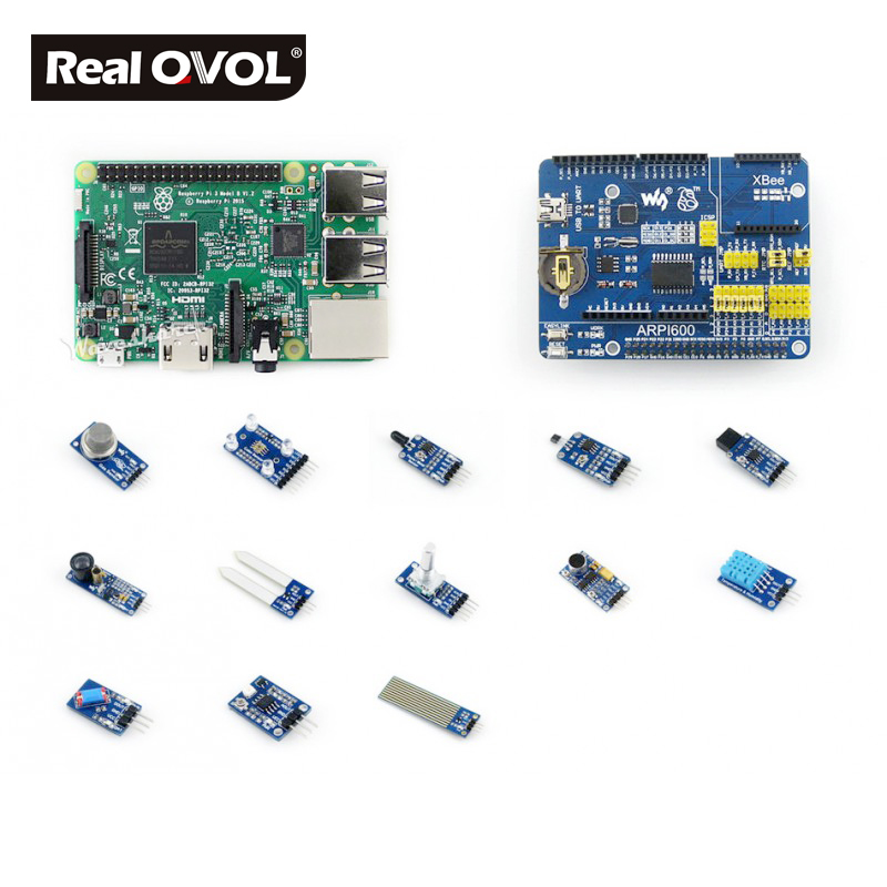 RealQvol Raspberry Pi 3 Model B - Package D Development Kits, Expansion Board ARPI600, Various Sensors, Supports Arduino xilinx fpga development board xilinx spartan 3e xc3s250e evaluation board kit lcd1602 lcd12864 12 modules open3s250e package b