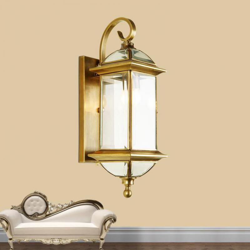 Garden Gold Outdoor Lighting Fixtures Retro H65 Copper Wall Lamp Courtyard Balcony Waterproof Outdoor Wall Sconce