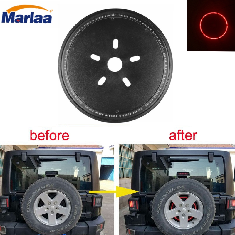 Spare Tire Cover Red Wheel Third Light Spare Tire LED Third Brake Light for 2007-2017 Jeep Wrangler JK JKU Unlimited Rubicon 2 piece set locking hood look catch hood latches kit for jeep wrangler jk rubicon sahara unlimited 2007 2016