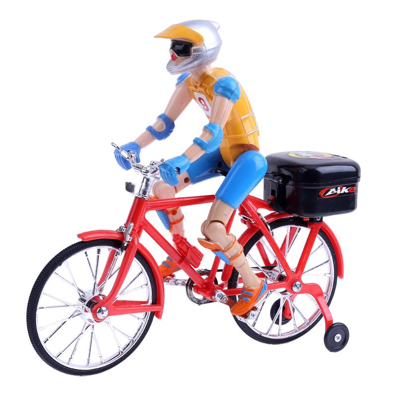 Electric Bicycle Bike Toy Riding On The Bike Figures Plastic Music Lighting Kids Novelty Finger