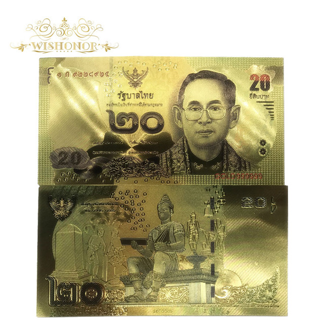 US $6 85 26% OFF|10pcs/lot 24K Color Thailand Gold banknote 20 Baht Gold  Foil Banknote Double Side Printing, Banknotes Paper Money For Collection-in
