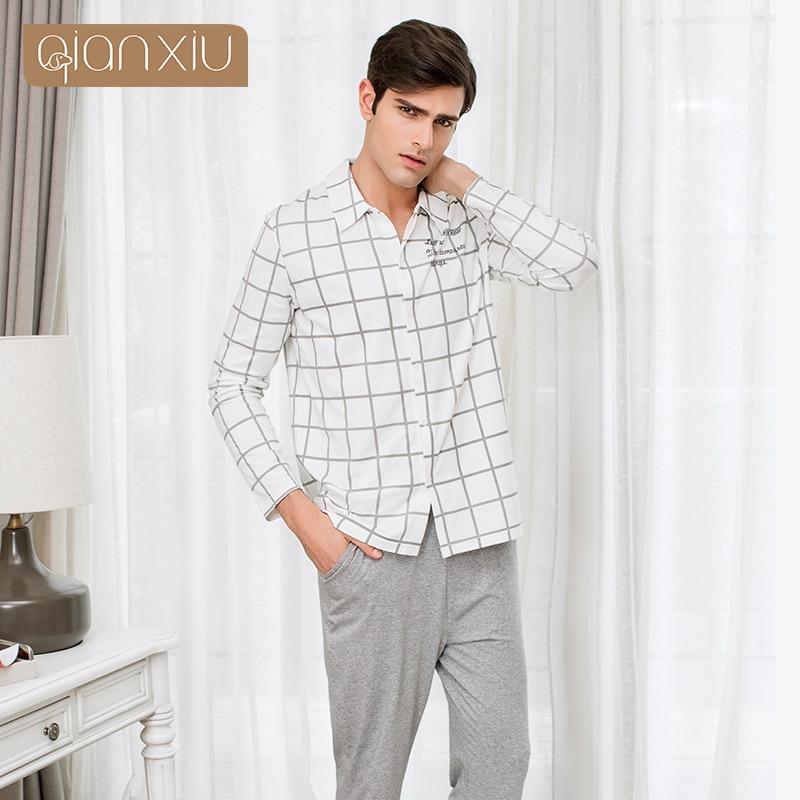 2019 Autumn Homewear Men Casual Plaid Pajama sets Male Cotton Sleepwear suit Couples Long Sleeve Turn