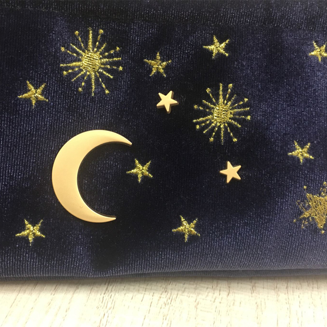 Cute Velvet Embroidery Cosmetic Bag Travel Organizer Women Makeup Bag Zipper Make Up Pouch with Moon Star Tassel Deco 4
