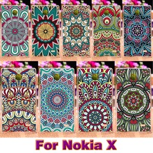 DIY Hard Plastic Painted phone Cases For Nokia X X+ 1045 A110 RM-980 4.0 inch Cover Traditional flowers housing shell Bags