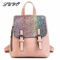 2018 Fashion Leather Paillette Student Small Cute Sequin Backpack Women Bagpack School Bags For Teenage Girls Pink Sack Mini