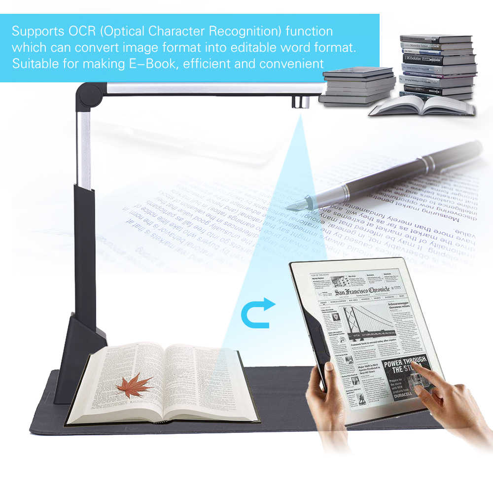 Aibecy A3 Document Paper Scanner Book Photo ID Scanners Camscanner 10  Mega-pixel HD High-Definition OCR Function for teacher