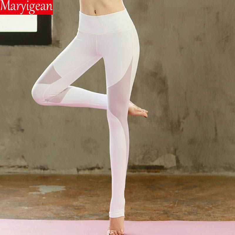 Mesh Stepping Foot Yoga Pants Stitching Nine Pants Women High Waist Sweatpants