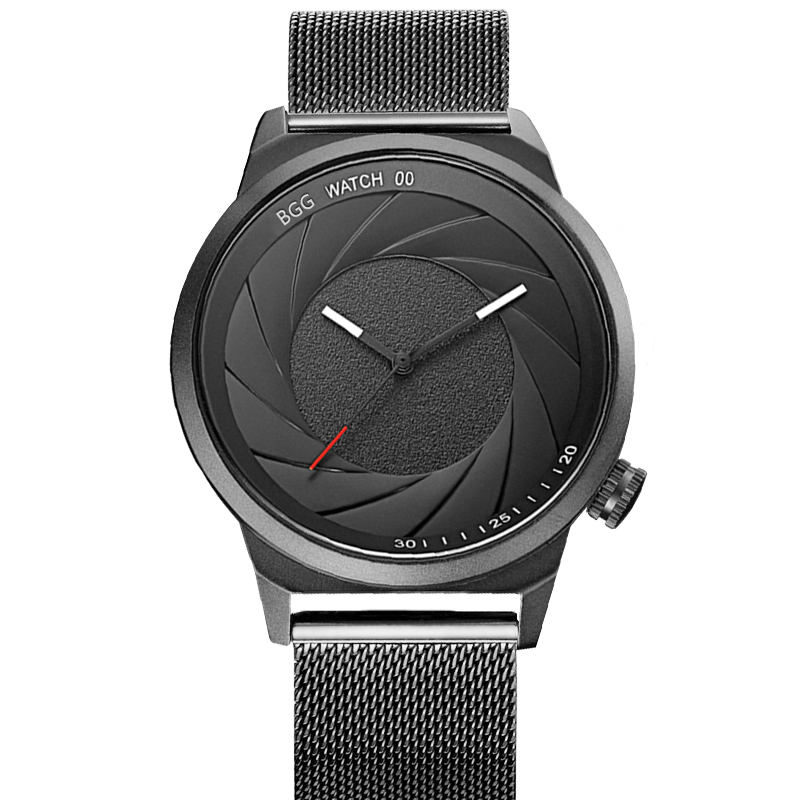 BGG New Creative Camera shutter Style Men Watch Top Brand Luxury Men Casual Sport Quartz Watches Men Business Waterproof relogio in Quartz Watches from Watches