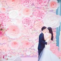 Large Size 60CM Handmade Cardboard Paper Rose Flower For Wedding Backdrops Background Deco Windows Display