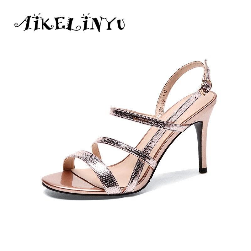 AIKELINYU 2019 été nouveau bout fin talon fin chaussures de mariage rose en peau de mouton Sexy dame robe sandales argentées chaussures pour femmes