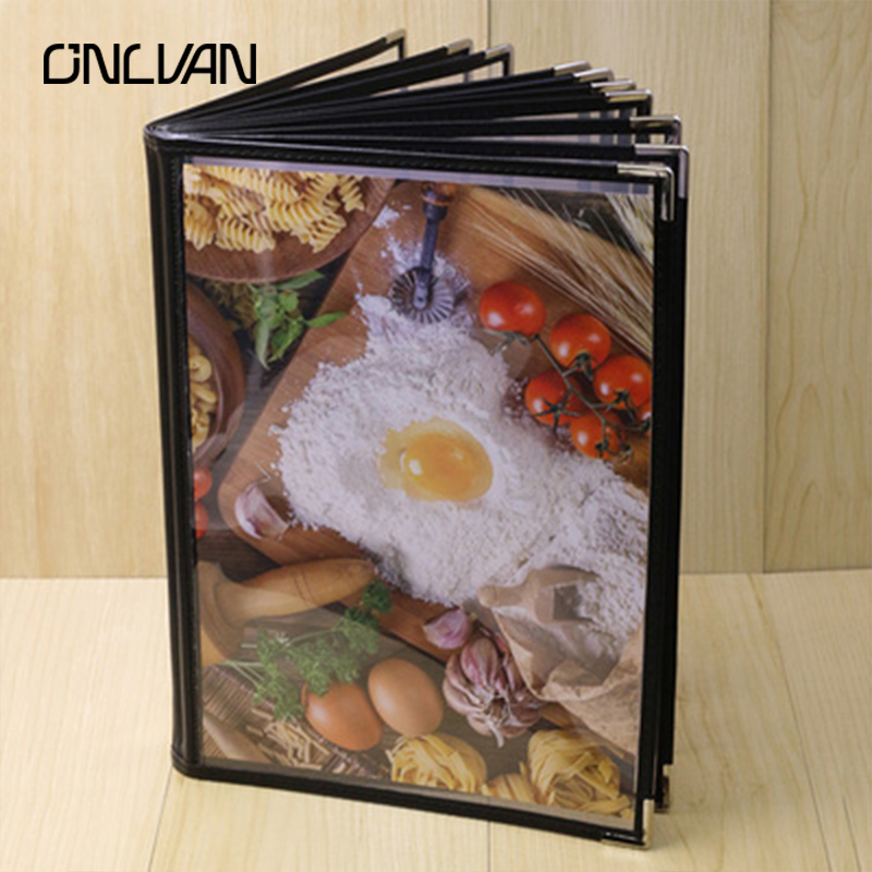ONLVAN PU Leather Restaurant Menu Covers Coffee Bar Menu List Folders Restaurant Display Restaurant Equipment Accept Customized brown genuine leather menu holder restautant menu cover money receipt high quality accept customized order print your own logo