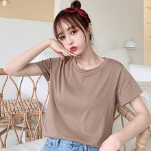 11 Candy Colors Plus Size Korean Style Solid Color O-Neck Women T-shirt Summer College Short-Sleeved Female Student Tshirt