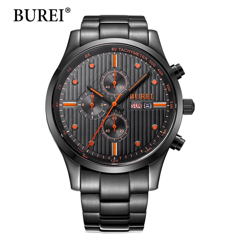 BUREI Men multifunctional Casual  Watch Top Brand Luxury Date Clock hours Male Steel Strap Quartz Watch Men Sports Wrist Watch робот пылесос endever sky robot 88