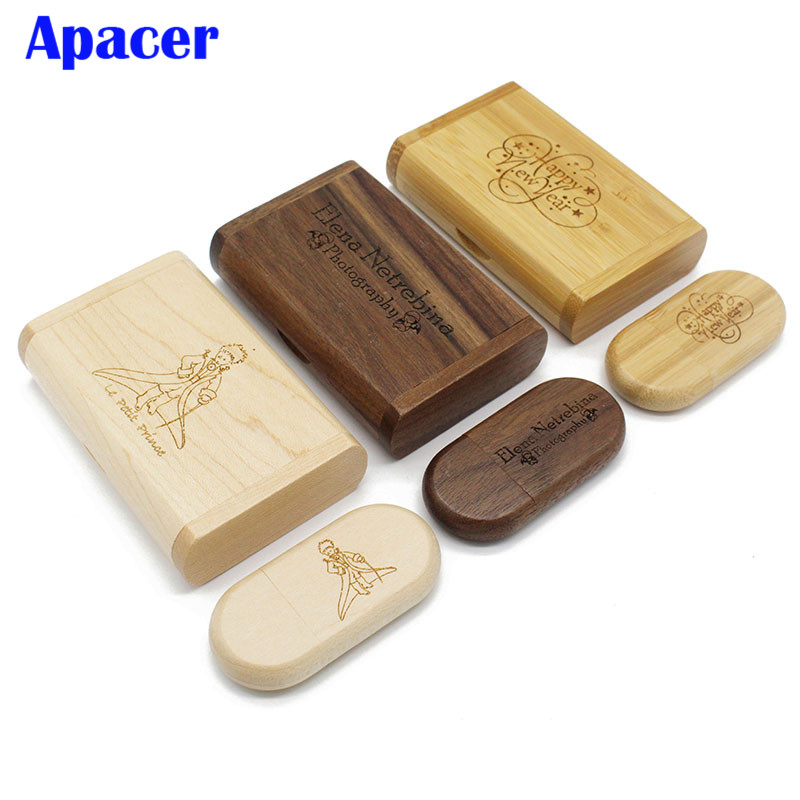 Apacer אישית לוגו USB דיסק און קי 4 gb 8 gb 16 gb 32 gb עט כונני מייפל עץ תיבת אריזה
