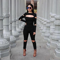 2016 Women Fashion sexy Bodycon Jumpsuit Long Sleeve Hollow Out Fahion Sexy Club Overalls Bodysuit Rompers Womens Jumpsuits