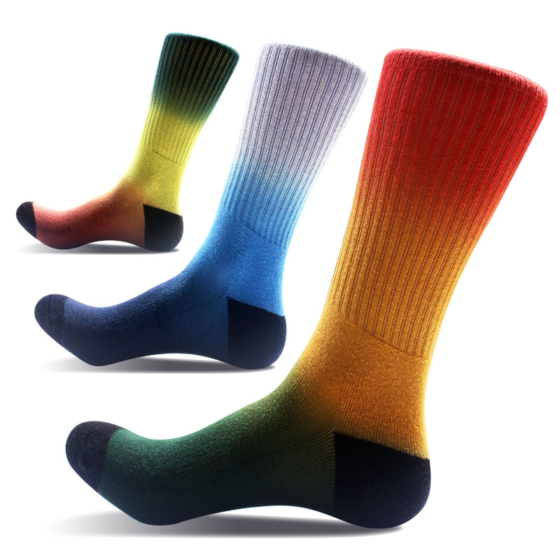 1 pair cotton happy socks men colorful skateboard hip hop sock gradient ramp printed fleece sokken riding brand long funny socks
