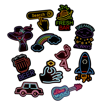 50PCS Neon Light Sticker Anime Icon Animal Cute Decals Stickers Gifts for Children to Laptop Suitcase Guitar Fridge Bicycle Car image