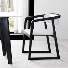 Скандинавская цельная древесина обеденный стул современный минималистский отель Ресторан подлокотник офисный стул, китайский журнальное кресло