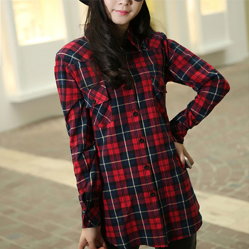 2015 fashion red black plaid flannel shirt women long Womens red tartan plaid shirt
