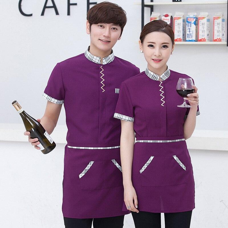 New Arrived Hotel Uniforms Work Clothes Short Sleeved Summer Waiter Restaurant Fast-food Restaurant Female Uniforms