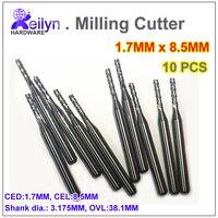 10pcs PCB Milling Cutter Carbide End Mill 1 7x8 5x3 175mm CNC Cutter Mini Drill Bit