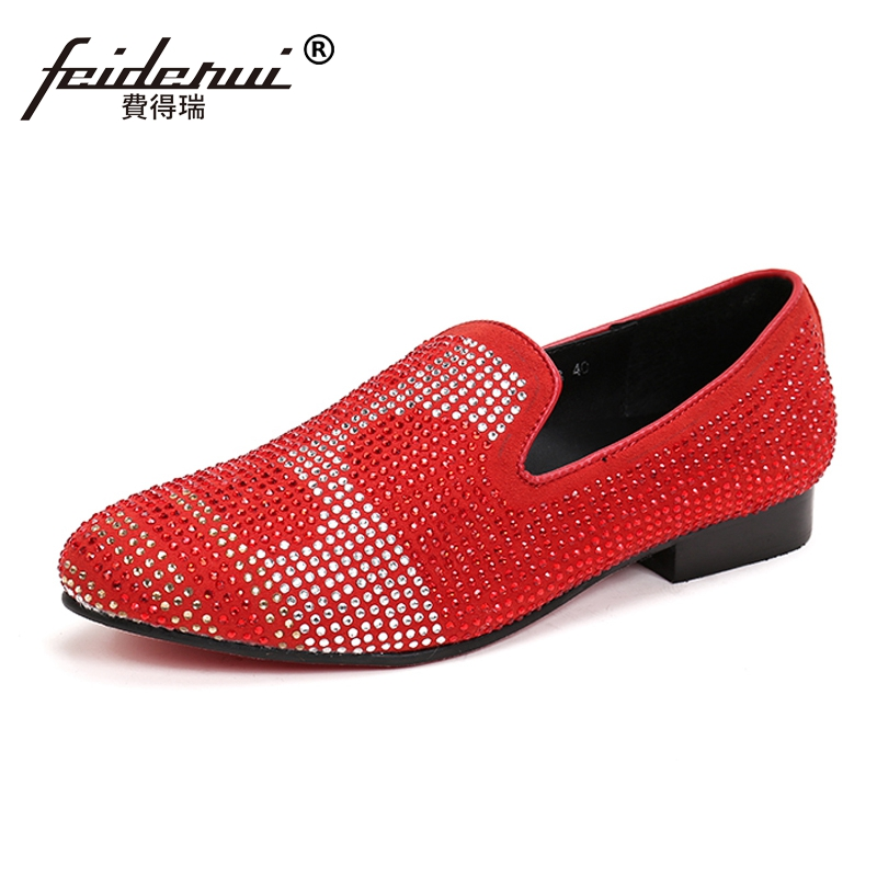 Plus Size Round Toe Slip on Man Rhineston Moccasin Loafers Cow Suede Leather Red Bottom Wedding Party Men