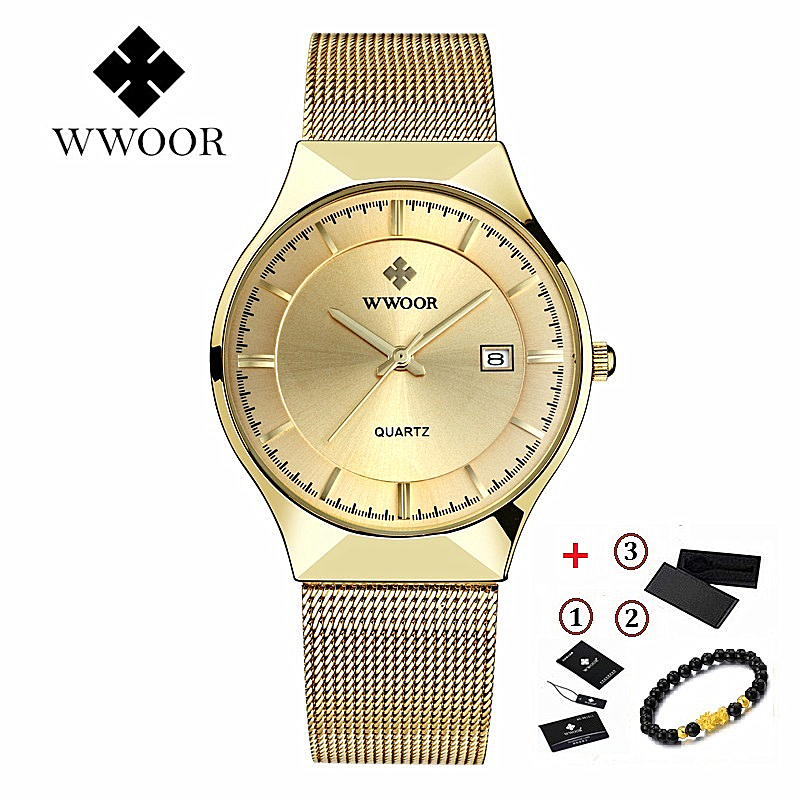 WWOOR Ultra-thin Mens Watches Top Brand Luxury Sport Watch Stainless Steel Mesh Watches Waterproof Quartz Watch Men Gold Clock