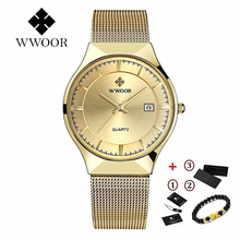 цена WWOOR Ultra-thin Mens Watches Top Brand Luxury Sport Watch Stainless Steel Mesh Watches Waterproof Quartz Watch Men Gold Clock онлайн в 2017 году