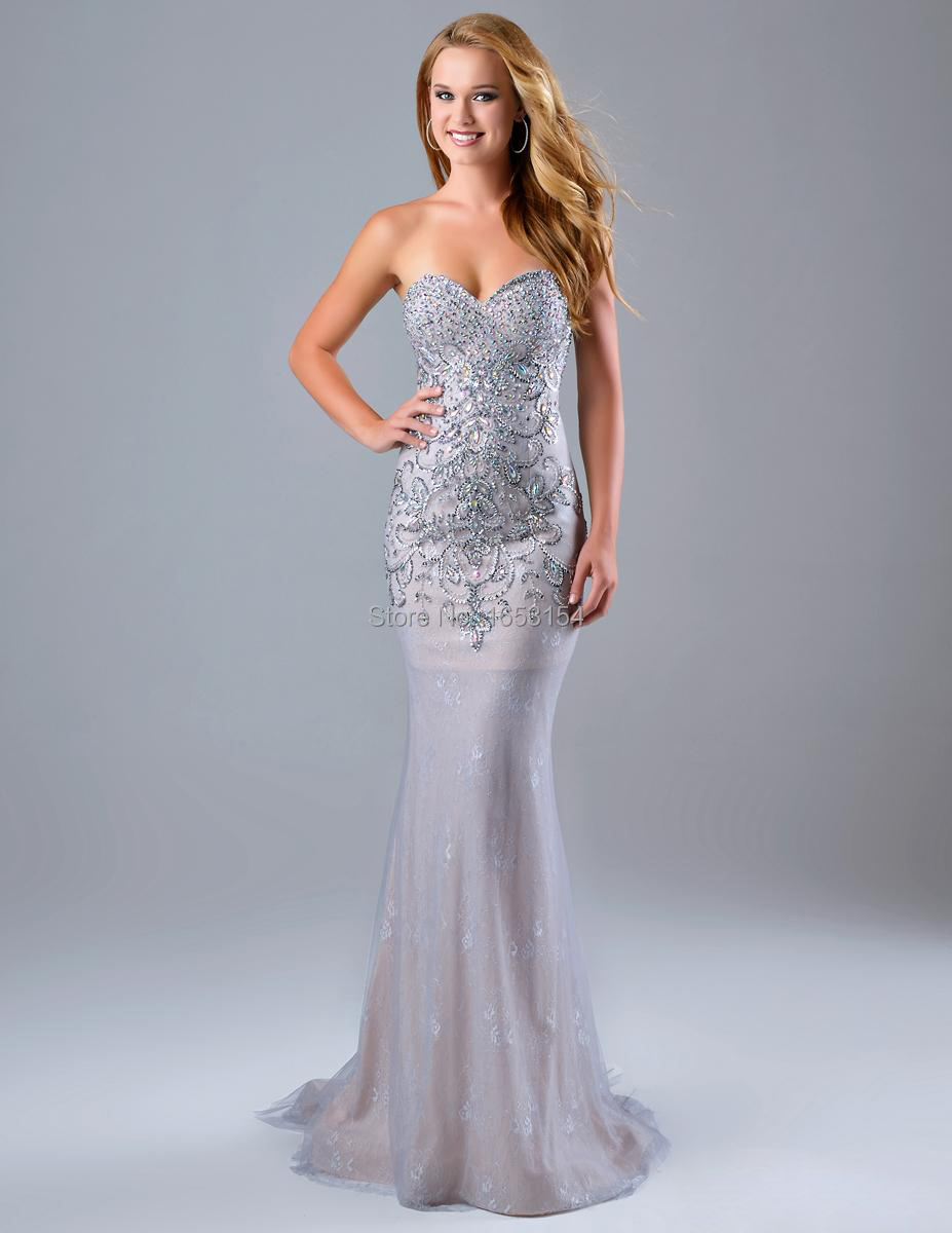 Silver Lace Mermaid Dress