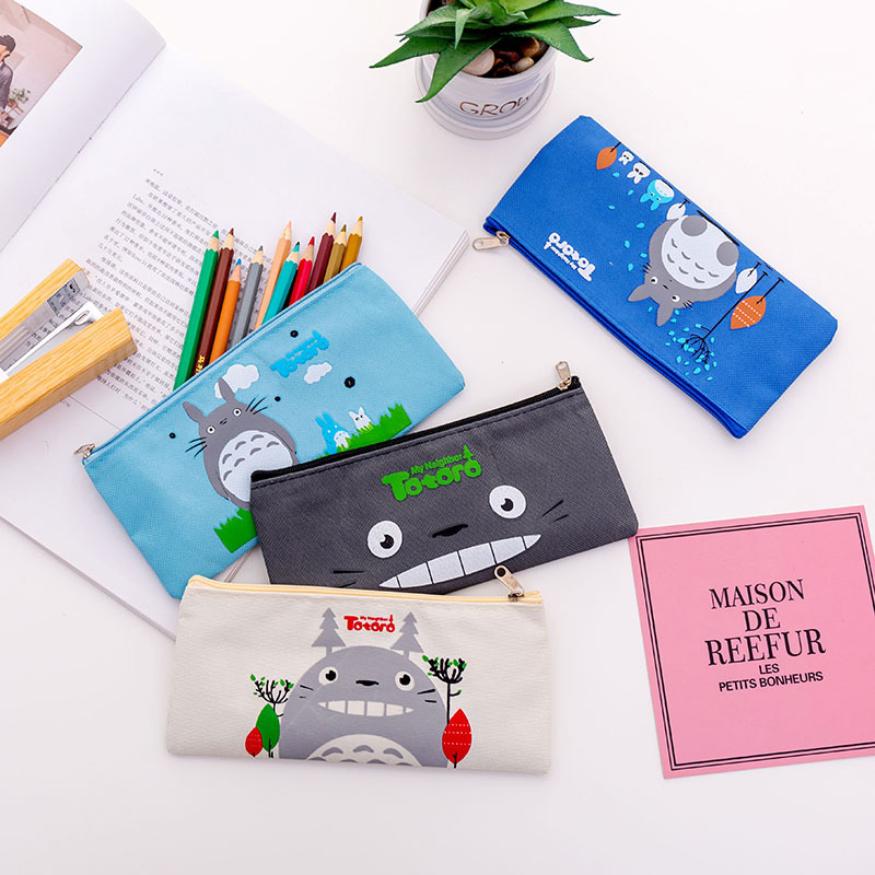 Canvas Zipper School Office Supplies Kids Gift Pencil Pen Bag Stationery