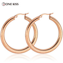 Classic Rose Gold Color Hollow Tube Big Hoop Earrings for Women Large Circle Stainless Steel Loop Earrings Brincos Jewelry(China)