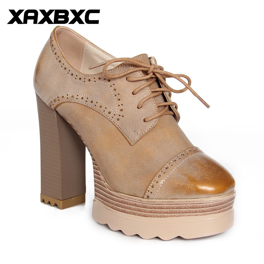 XAXBXC Retro British Style Leather Oxfords Platform Lace Up High Heels Women Pumps Thick Heel Handmade Casual Ladies Shoes xjrhxjr women s lace up high heels women pumps british style leather shoes thick heel round toe platform casual shoes for girls
