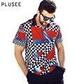 Plusee casual shirt men short sleeve plus size shirt men cotton summer print big size patchwork print casual shirt men XL-6XL