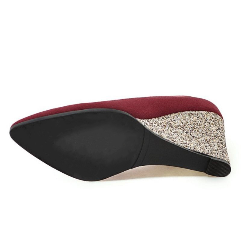 Schuh 33 Frauen Spitz Dame Vintage Büro Glanz Party Club Jojonun Pumpen Schuhe Keile Größe 43 Sexy Hohe ZqZURAw