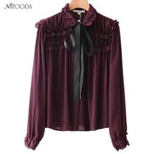 NATOODA 2018 Fashion Sweet Ruffles Blouse Brand Pleated Shirts Tie Neck Long Sleeve  Office Work Chic Women Tops Blusas XY3028