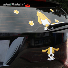 BEMOST Car Styling Cartoon Long Ear Dog And Dog Kiss Moving Tail Sticker Rear Window Wiper Decals Windshield Decor Stickers 1Set цена