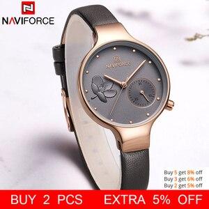 Image 2 - NAVIFORCE Frauen Uhren Top Luxus Marke Damen Quarz Uhren Echtem Leder Armband Beiläufige Handgelenk Uhren Geschenk Für Mädchen