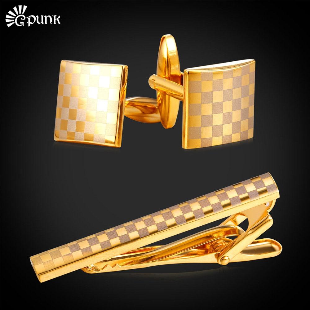 Brand necktie tie clips & cufflinks set With Gift Box gold color cuff button men wedding cuff link valentines day gift for men