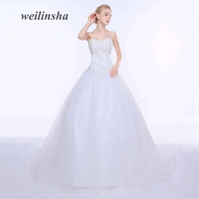weilinsha Plus Size Ball Gown Wedding Dresses 2018 Tulle Princess Appliques In Stock White Wedding Bridal Gowns Vestido de Noiva