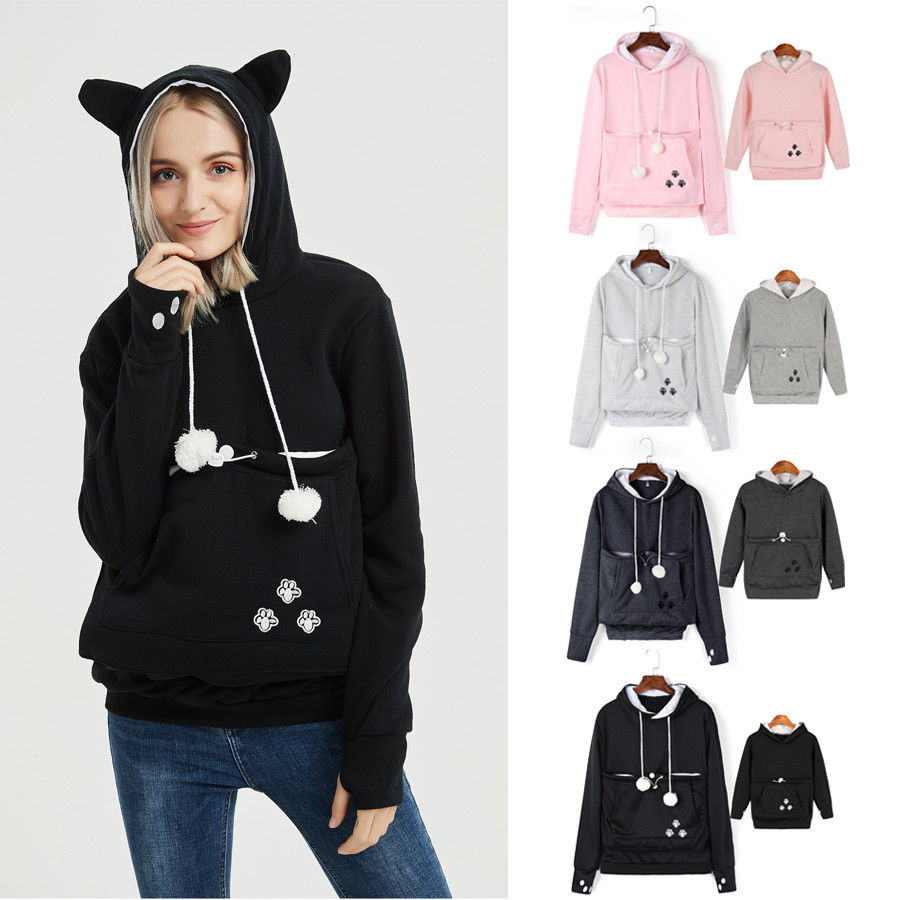 Women Family Matching Hoodies Sweatshirt Kangaroo Pet Dog Cat Holder Carrier Velvet Hooded Coat Pocket Hoodie